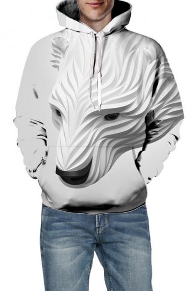 3D Polar Bear Print Long Sleeve Unisex Hoodie