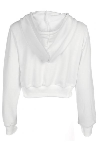 Chic Plain Zip Up Long Sleeve Cropped Hoodie Beautifulhalocom