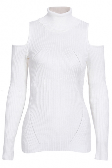 Cold Shoulder Turtleneck Long Sleeve Plain Slim Knit Sweater