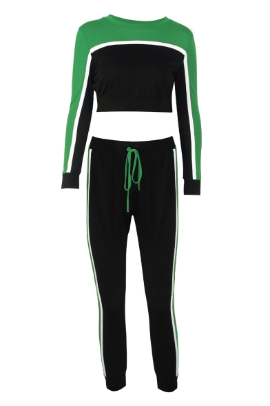 Color Block Contrast Striped Round Neck Long Sleeve Crop Top with Drawstring Waist Slim Pants Sports Co-ords