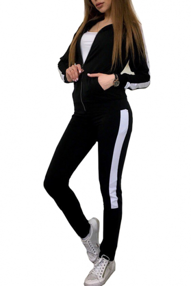 Color Block Zip Up Long Sleeve Jacket with Slim Casual Pants Co-ords