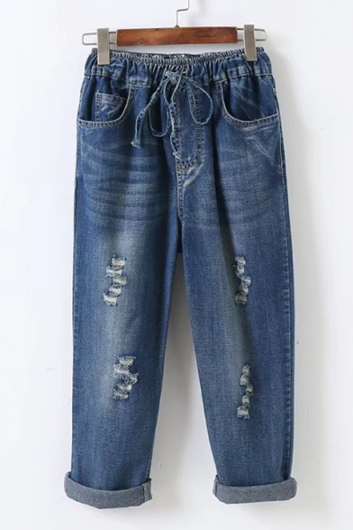 Distressed Detail Drawstring Waist Rolled Cuffs Cropped Jeans