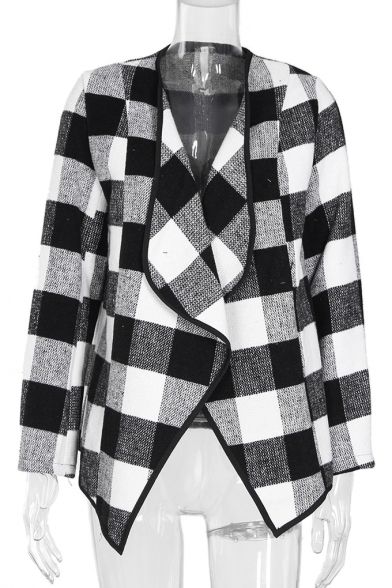 Fashion Waterfall Front Plaid Long Sleeve Woolen Jacket