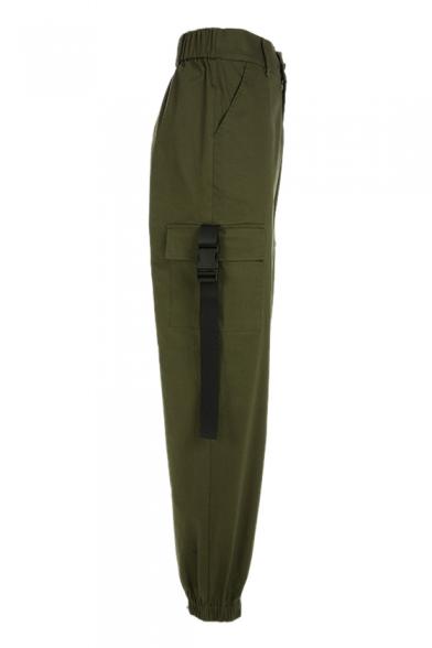 High Waist Straps Embellished Plain Elastic Cuff Cargo Pants