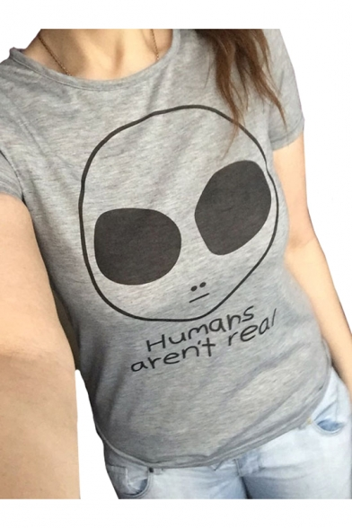 HUMAN AREN'T REAL Letter Alien Print Round Neck Short Sleeve T-Shirt