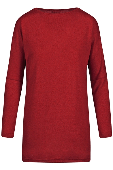 Round Neck Long Sleeve Plain Leisure Mini Knit Dress