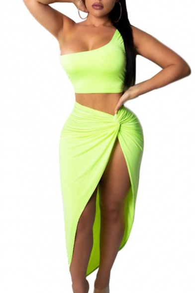 Sexy One Shoulder Sleeveless Plain Crop Tank with Twist Waist Split Front Maxi Skirt Co-ords