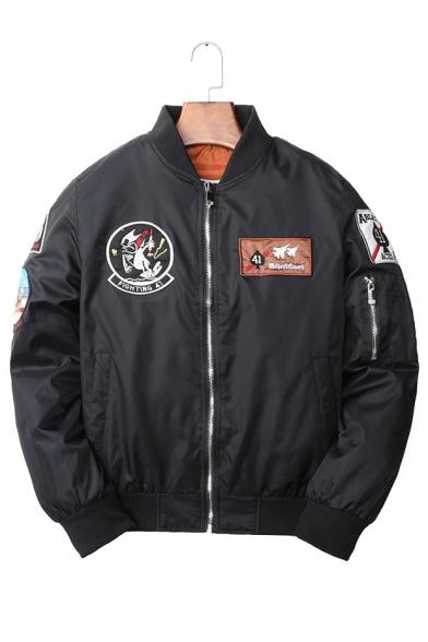 Applique Badge Embellished Stand Collar Zip Up Long Sleeve Bomber Jacket