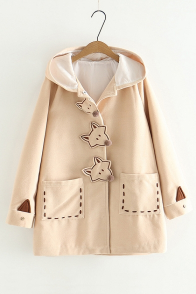 Cute Fox Buttoned Placket Long Sleeve Hooded Coat with Pockets