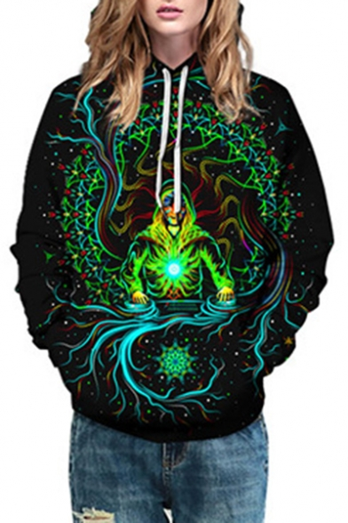 Fashion Floral Character Print Long Sleeve Oversized Hoodie