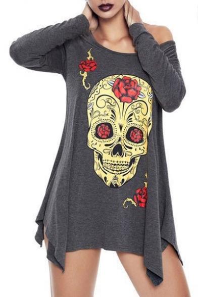 Floral Skull Print Round Neck Long Sleeve Asymmetric Hem Tunic Tee LC484342 фото