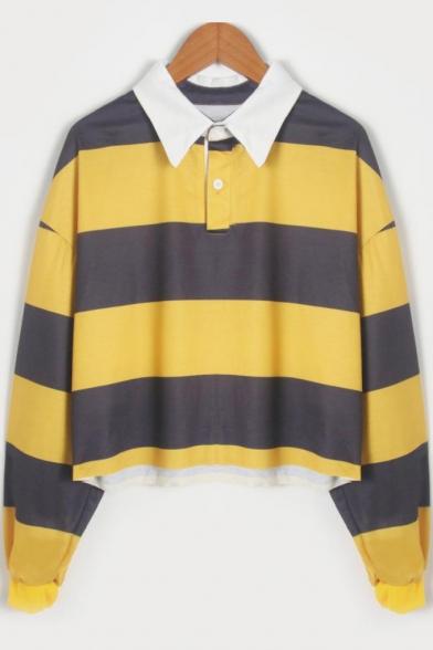 Lapel Collar Color Block Long Sleeve Cropped Polo Sweatshirt