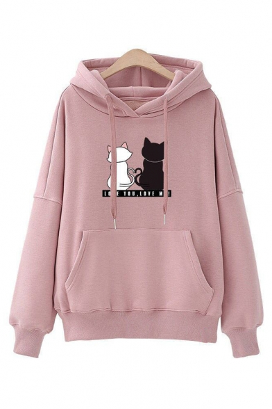 LOVE YOU Letter Cats Print Long Sleeve Casual Hoodie