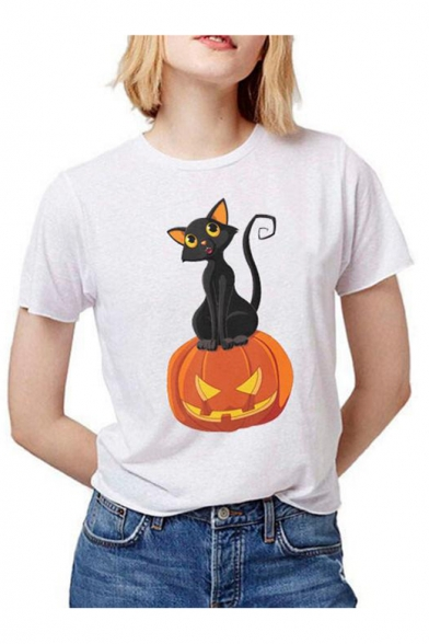 Pumpkin Cat Printed Slim Round Neck Short Sleeve T-Shirt