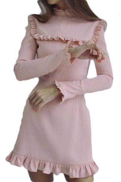 Ruffle Trim Long Sleeve Plain Mock Neck Mini Pencil Dress