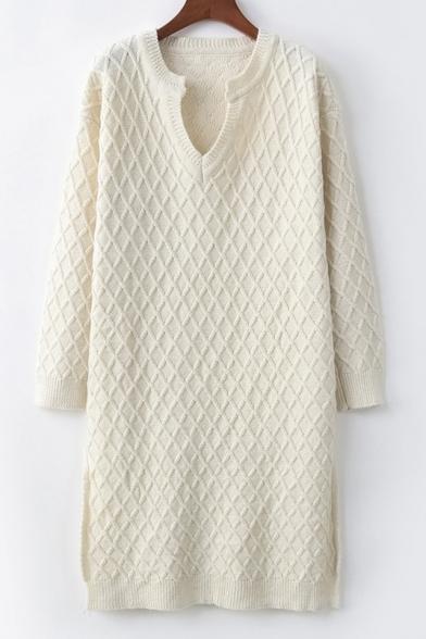 V Neck Plain Long Sleeve Split Side Midi Sweater Dress