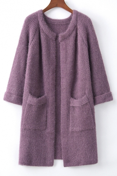 Collarless Long Sleeve Plain Open Front Tunic Cardigan with Pockets, LC483317, Blue;pink;red;purple