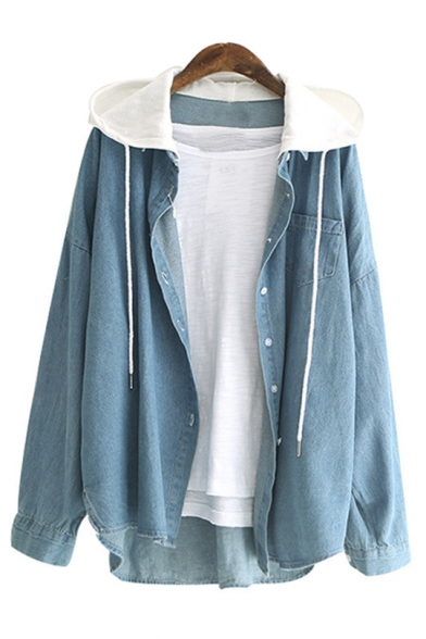 Contrast Hood Button Front Long Sleeve Casual Denim Shirt