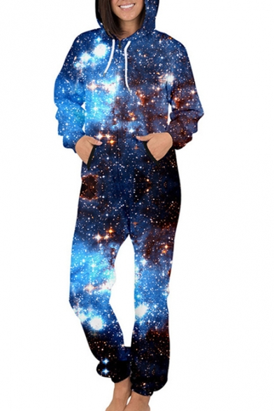 Galaxy Printed Long Sleeve Hooded Jumpsuit