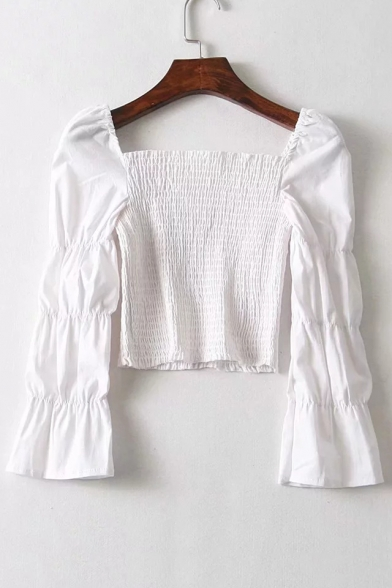 Square Neck Puff Sleeve 3/4 Length Sleeve Cropped Blouse