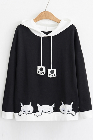 Chic Color Block Cat Embroidered Long Sleeve Casual Hoodie
