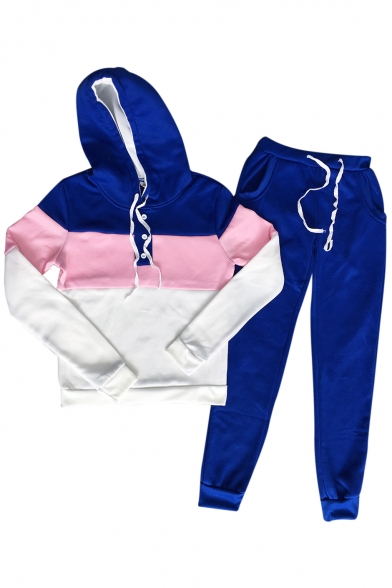 Color Block Button Front Embellished Long Sleeve Slim Hoodie with Drawstring Waist Slim Pants Co-ords