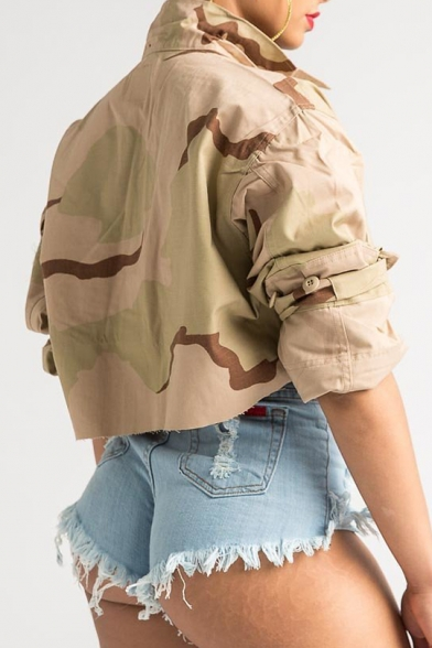 Cool Camouflage Lapel Collar Long Sleeve Button Placket Cropped Jacket