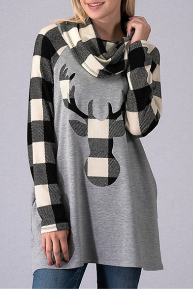 Deer Contrast Plaid Raglan Sleeve High Neck Tunic Sweatshirt