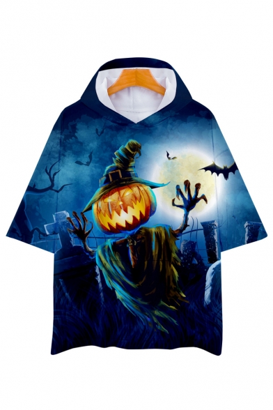 Pumpkin Scarecrow Printed Short Sleeve Unisex Hooded Tee