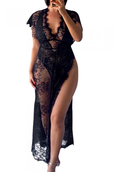 Sexy Sheer Eyelash Lace V Neck Short Sleeve Split Side Maxi A-Line Dress