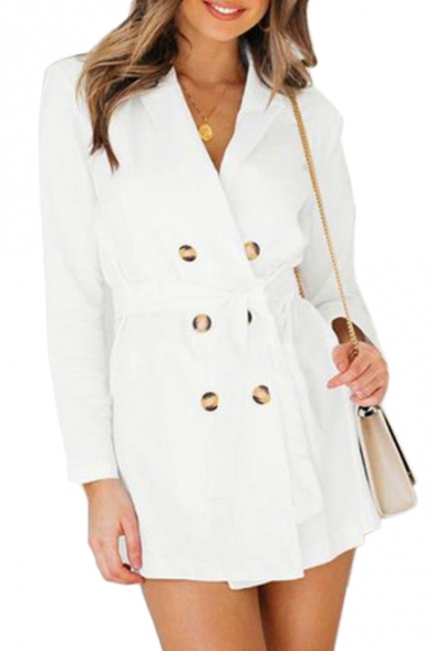 Double Breasted Notch Lapel Collar Long Sleeve Plain Tie Waist Trench Coat