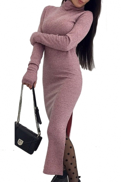High Neck Long Sleeve Plain Ribbed Split Side Maxi Pencil Dress