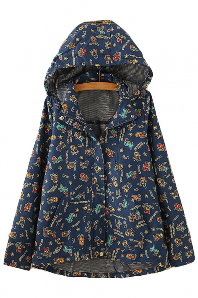 Letter Cartoon All Over Printed Zip Placket Long Sleeve Hooded Jacket