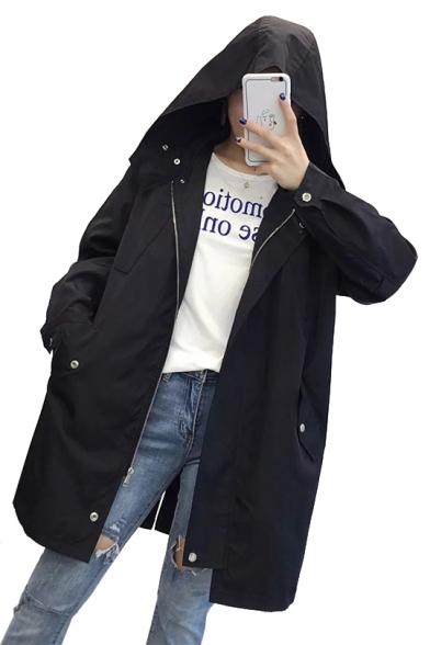 Plain Long Sleeve Drawstring Waist Zip Up Hooded Trench Coat