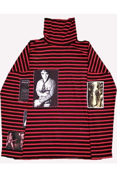 BTS Korean Star Photo Applique High Neck Long Sleeve Striped T-Shirt