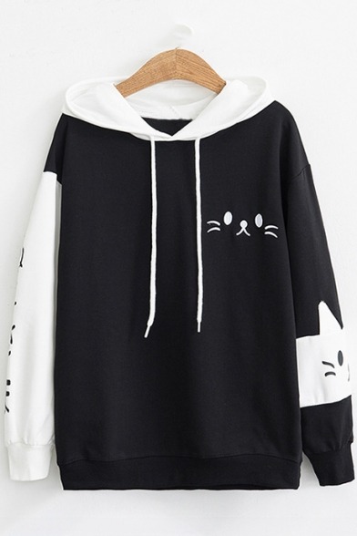 Cat Embroidered Drawstring Hood Color Block Leisure Hoodie