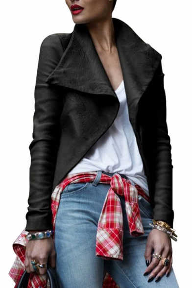 Chic Lapel Collar Plain Long Sleeve Offset Zip Closure Cropped Leather Jacket