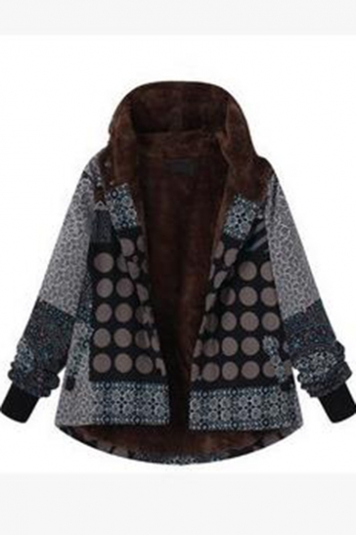 Contrast Polka Dot Floral Print Long Sleeve Hooded Coat
