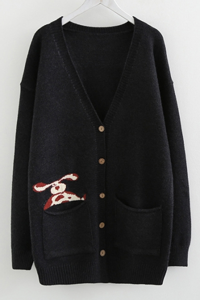 Dog Pattern V Neck Button Front Long Sleeve Tunic Cardigan with Pockets, LC489336, Burgundy;navy