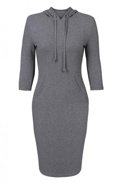 Essential 3/4 Length Sleeve Plain Long Sleeve Hooded Midi Bodycon Dress