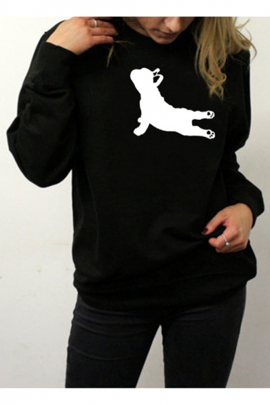 French Bulldog Pattern Crewneck Long Sleeve Casual Leisure Pullover Sweatshirt