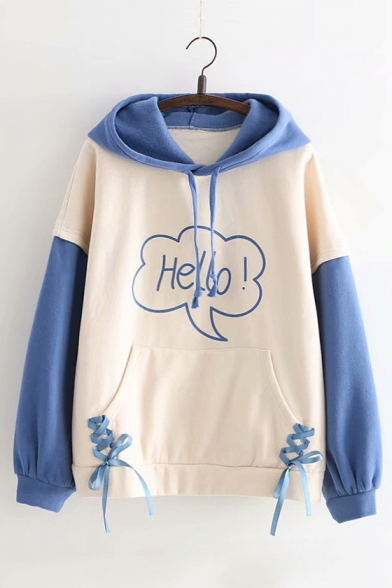 HELLO Letter Print Lace Up Detail Color Block Long Sleeve Hoodie