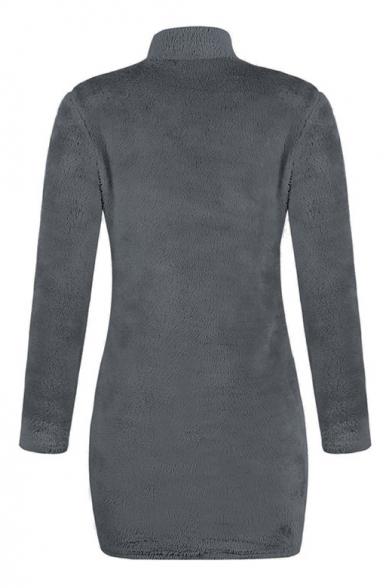High Neck Long Sleeve Plain Faux Fur Mini Bodycon Dress