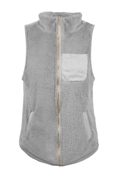 Pocket Patch Front Stand Collar Sleeveless Faux Fur Zip Up Vest