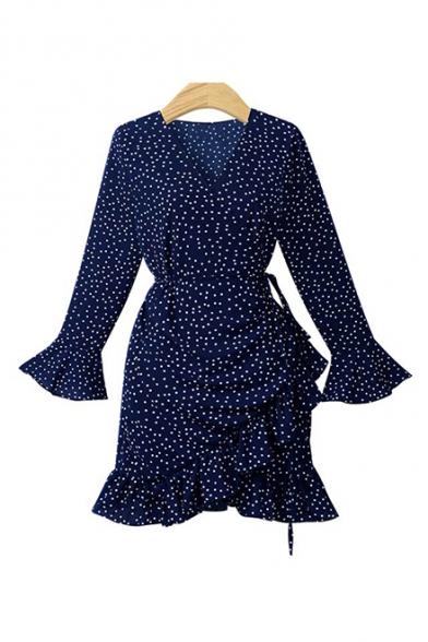 Vintage Polka Dot Print Long Sleeve Ruffle Hem Mini Wrap Dress