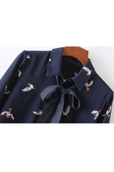 Bird Print Lapel Collar Long Sleeve Concealed Button Front Shirt
