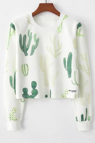 Cactus Print Round Neck Long Sleeve Cropped Sweatshirt