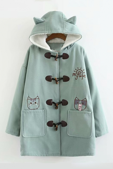 79a70fd1d Cat Embroidered Button Front Long Sleeve Hooded Coat - Beautifulhalo.com
