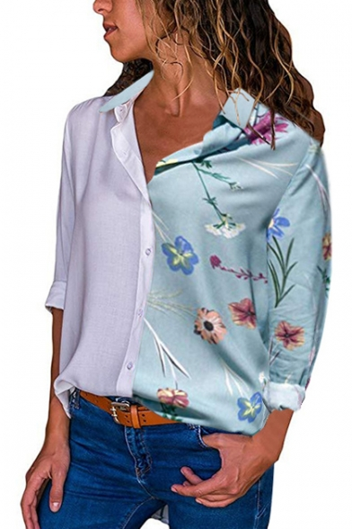 Купить со скидкой Contrast Floral Print Lapel Collar Button Closure Long Sleeve Shirt