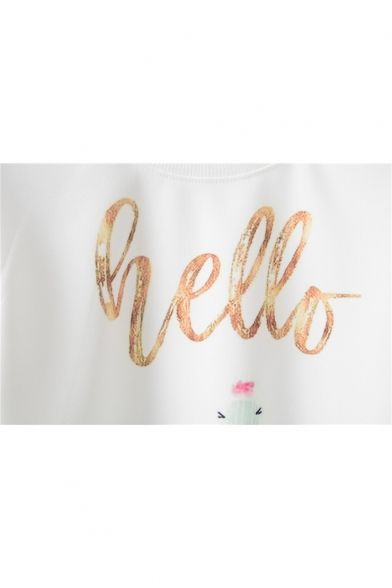 HELLO Letter Cactus Print Round Neck Long Sleeve Sweatshirt